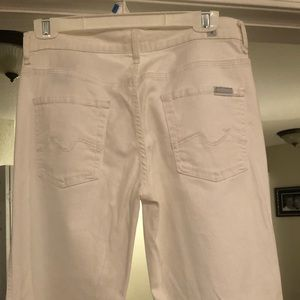 7 For All Mankind White Denim Flare & Wide Leg